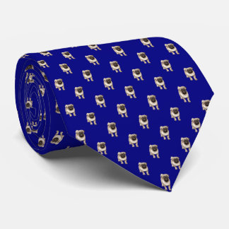 Small Pug Puppy Pattern on Light Navy Blue Tie