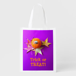 Small pumpkin with fall leaves on purple grocery bags