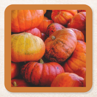 SMALL PUMPKINS ON PAPER COASTER. SQUARE PAPER COASTER