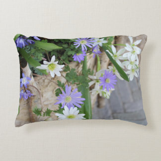 Small Purple and White Flowers Decorative Pillow