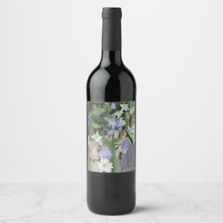 Small Purple and White Flowers Wine Label