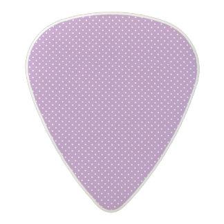 Small purple and white polka dot pattern acetal guitar pick