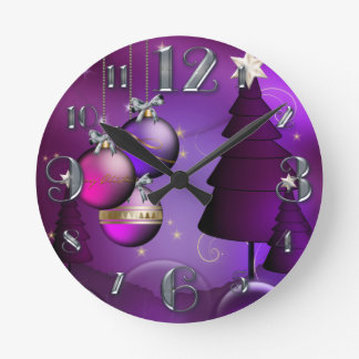 Small Purple Bauble Christmas Clock