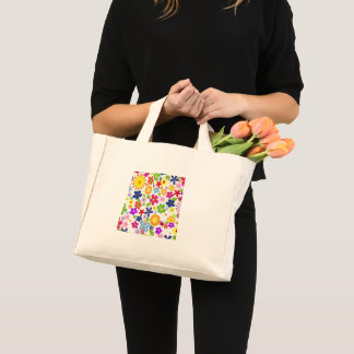 Small purse fabric with drawing of flowers mini tote bag
