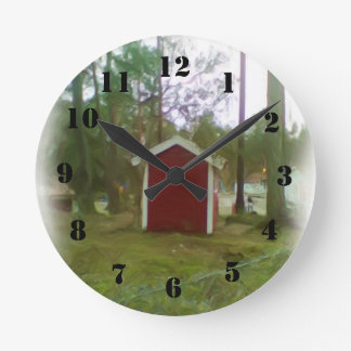 Small red building clock