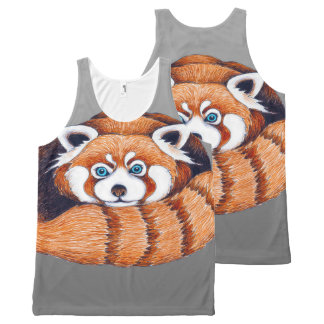 Small Red Panda on Grey All-Over-Print Tank Top