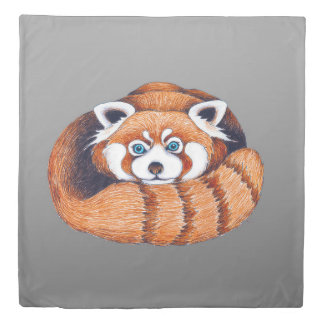 Small Red Panda on Grey Duvet Cover