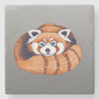 Small Red Panda on Grey Stone Coaster