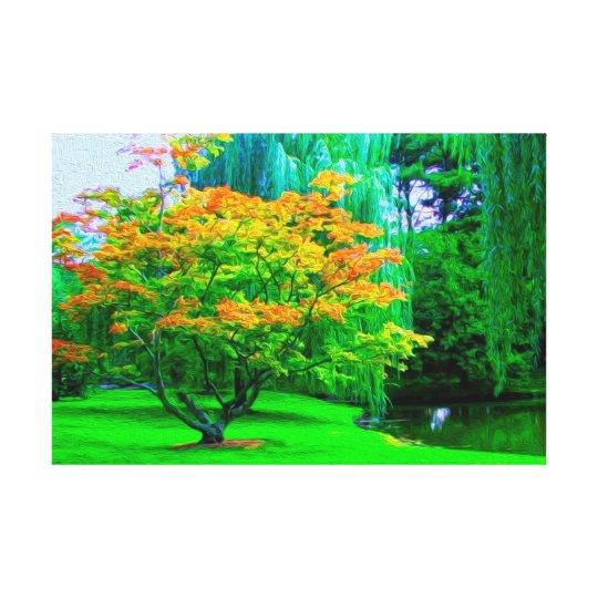 Small River Orange Blossom Tree And Green Grass Canvas Print
