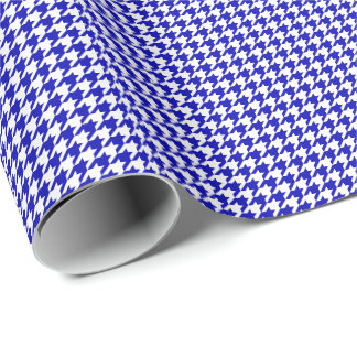 Small Royal Blue and White Houndstooth Wrapping Paper