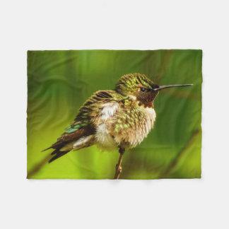 Small Ruby Throated Hummingbird Fleece Blanket