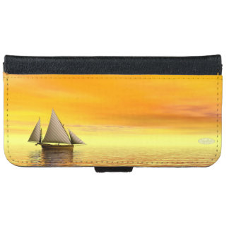 Small sailboat - 3D render iPhone 6 Wallet Case