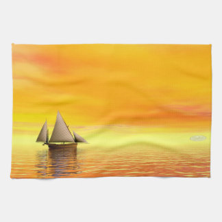 Small sailboat - 3D render Kitchen Towel