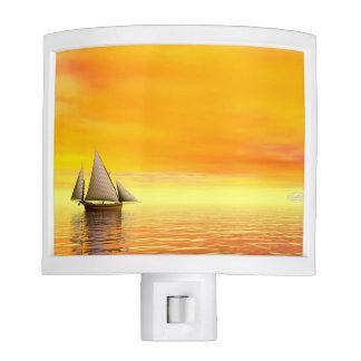Small sailboat - 3D render Night Lights