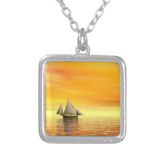 Small sailboat - 3D render Silver Plated Necklace