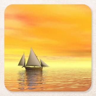 Small sailboat - 3D render Square Paper Coaster