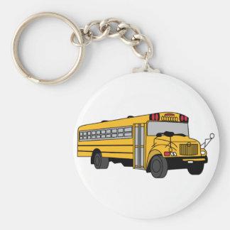 Small School Bus Basic Round Button Keychain