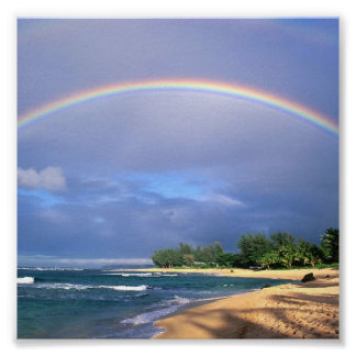 small seashore rainbow poster