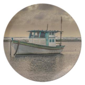 Small Ship at Ocean Porto Galinhas Brazil Plate