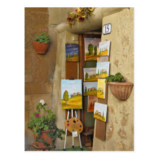 Small shope with artwork for sale on sidewalk postcard