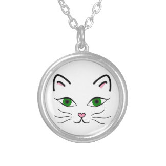 Small Silver Plated Round Necklace - Kitty Face