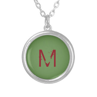 """Small Silver Plated Round Necklace """"Letter M"""""""