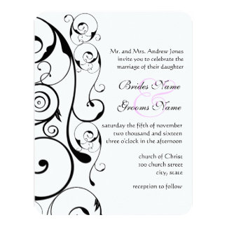 Small Size 4 x 5.5 Black Swirl Wedding Invitations