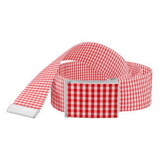 Small Snow White and Christmas Red Gingham Check Belt