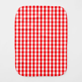 Small Snow White and Christmas Red Gingham Check Burp Cloth
