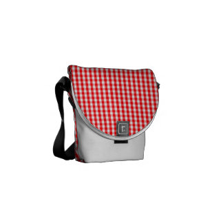 Small Snow White and Christmas Red Gingham Check Commuter Bag