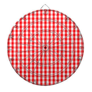 Small Snow White and Christmas Red Gingham Check Dartboard