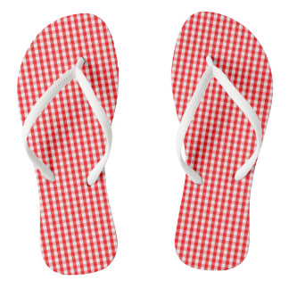 Small Snow White and Christmas Red Gingham Check Flip Flops