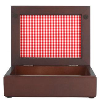 Small Snow White and Christmas Red Gingham Check Keepsake Box