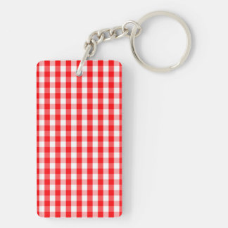 Small Snow White and Christmas Red Gingham Check Keychain