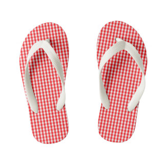 Small Snow White and Christmas Red Gingham Check Kid's Flip Flops