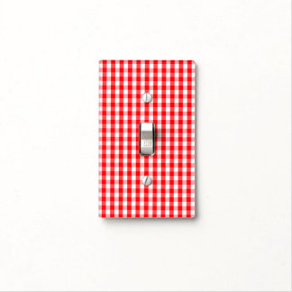 Small Snow White and Christmas Red Gingham Check Light Switch Cover