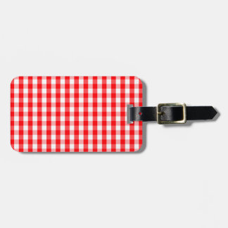 Small Snow White and Christmas Red Gingham Check Luggage Tag