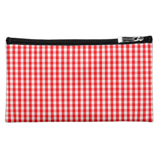 Small Snow White and Christmas Red Gingham Check Makeup Bag