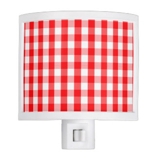 Small Snow White and Christmas Red Gingham Check Nite Lites