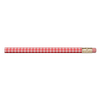 Small Snow White and Christmas Red Gingham Check Pencil