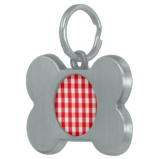 Small Snow White and Christmas Red Gingham Check Pet ID Tag