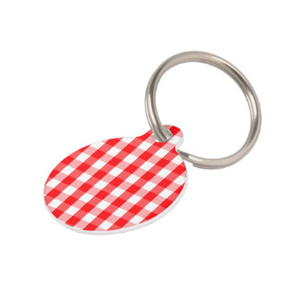 Small Snow White and Christmas Red Gingham Check Pet Tag