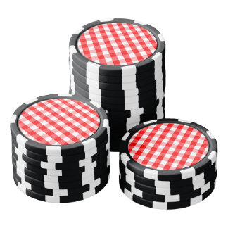 Small Snow White and Christmas Red Gingham Check Poker Chips