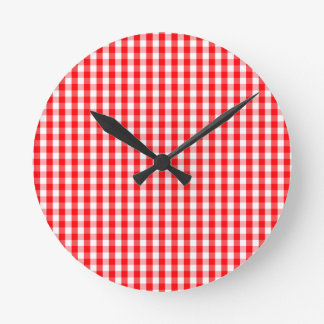 Small Snow White and Christmas Red Gingham Check Round Clock