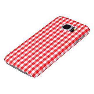 Small Snow White and Christmas Red Gingham Check Samsung Galaxy S6 Cases