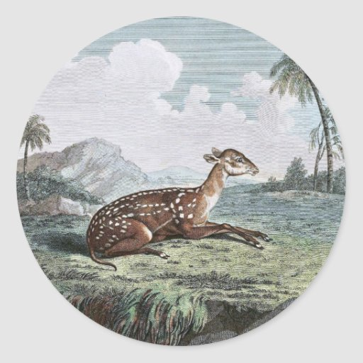 Small Spotted Musk Deer Drawing Round Stickers