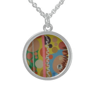 Small Sterling Silver Pendant/Necklace with art Sterling Silver Necklace