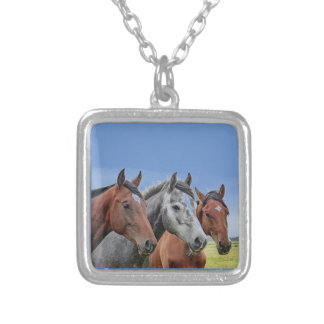 Small Sterling Silver Plated Horse Heads Necklace