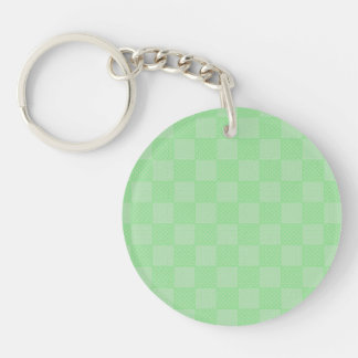 Small Textured Green Patchwork Pattern Single-Sided Round Acrylic Keychain