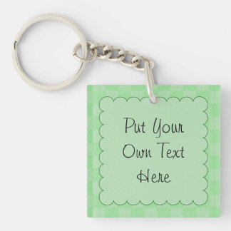 Small Textured Green Patchwork Pattern Acrylic Key Chain